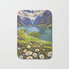 Shore of flowers on lake in mountains - original oil painting by Rybakow Bath Mat