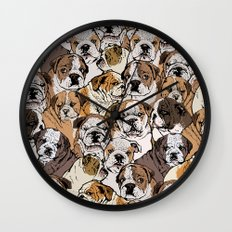 Social English Bulldog Wall Clock