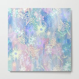 Eden Floral Pastel Blue Metal Print