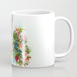 Flowers Lungs Skeleton Watercolor Coffee Mug