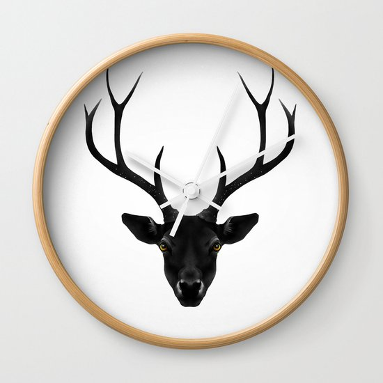 The Black Deer Wall Clock