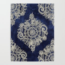 Cream Floral Moroccan Pattern on Deep Indigo Ink Poster