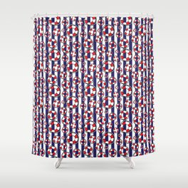 Nautical Red and White Lifebelts on Navy Blue Stripes Shower Curtain