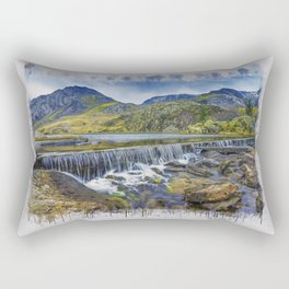 Snowdonia Tryfan Painting Rectangular Pillow