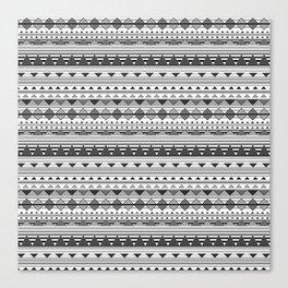 Aztec Black & White Canvas Print