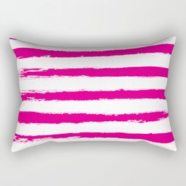 Pretty Pink STRIPES Handpainted Brushstrokes Rectangular Pillow