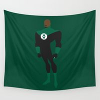 green lantern Wall Tapestries featuring Green Lantern by karla estrada
