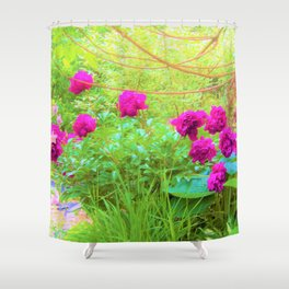 Impressionistic Purple Peonies with Green Hostas Shower Curtain