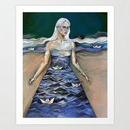 Paper Boats. Art Print