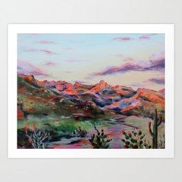 Tucson Sunset by the Catalina foot hills - Thimble peak Art Print