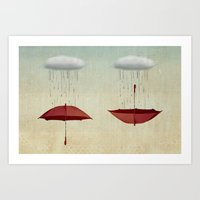 rain Art Prints featuring embracing the rain by Vin Zzep