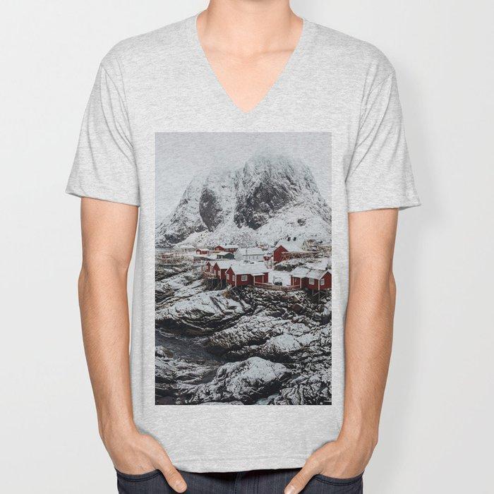Mountain Village In Norway Unisex V-Neck