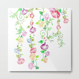 Floral Abstract on White Background Metal Print