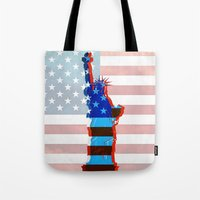 patriots Tote Bags featuring statue of liberty / USA by Marta Olga Klara