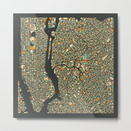 NEW YORK MAP Metal Print