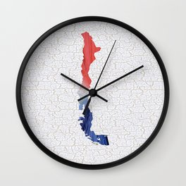Colorful Art Chile Map Blue, Red and White Wall Clock