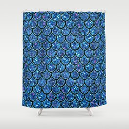 Sparkly Turquoise & Blue & Glitter Mermaid Scales Shower Curtain