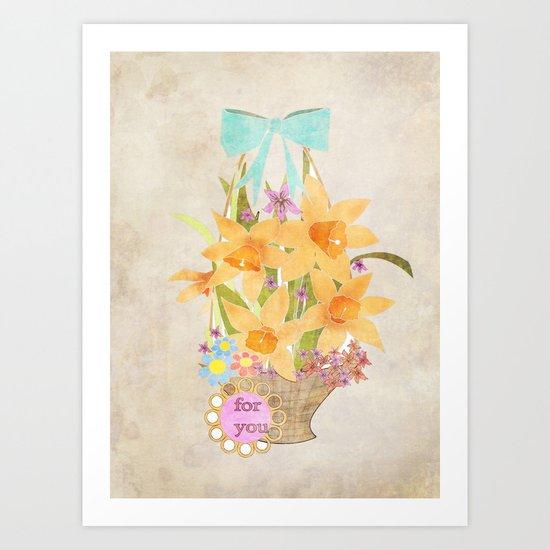 Basket with spring cveti . Retro . Vintage . Art Print