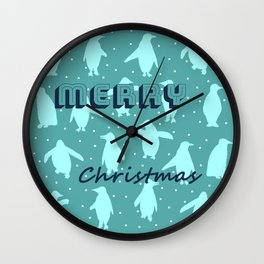 Merry Christmas from the penguins II Wall Clock