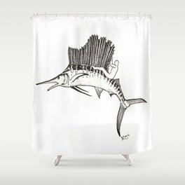 Surfing the fish Shower Curtain