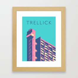 Trellick Tower London Brutalist Architecture - Text Sky Framed Art Print