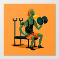workout Canvas Prints featuring Pigeon Workout by Chi Birmingham