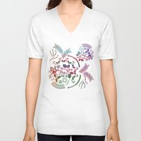 vintage floral V-neck T-shirts featuring Floral by famenxt