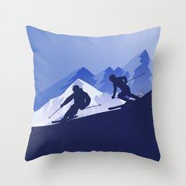 Best Skiing Design Ever • Winter Sport • Blue Throw Pillow