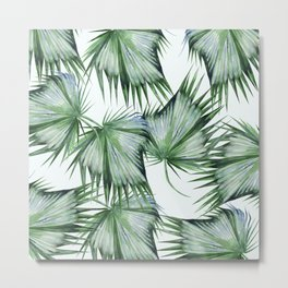 Floating Palm Leaves Green Metal Print