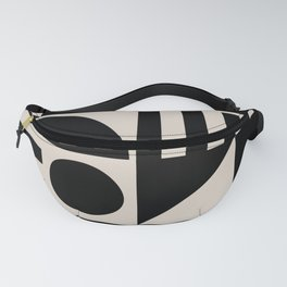 Mid Century Modern Geometric Abstract 936 Black and Linen White Fanny Pack