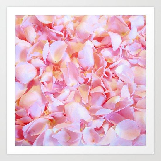Pink flower petals - Beautiful floral rose roses background Art Print