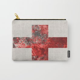 Medic - Abstract Medical Cross In Red And Black Carry-All Pouch
