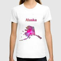 alaska T-shirts featuring Alaska Map by Roger Wedegis