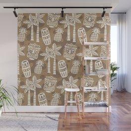 Retro Mid Century Modern Tiki Pattern 530 Beige Wall Mural