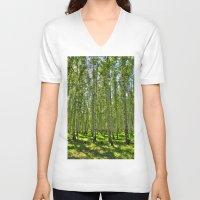 birch V-neck T-shirts featuring Birch Grove by Svetlana Korneliuk