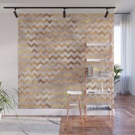 Elegant chic faux gold chevron marble pattern Wall Mural