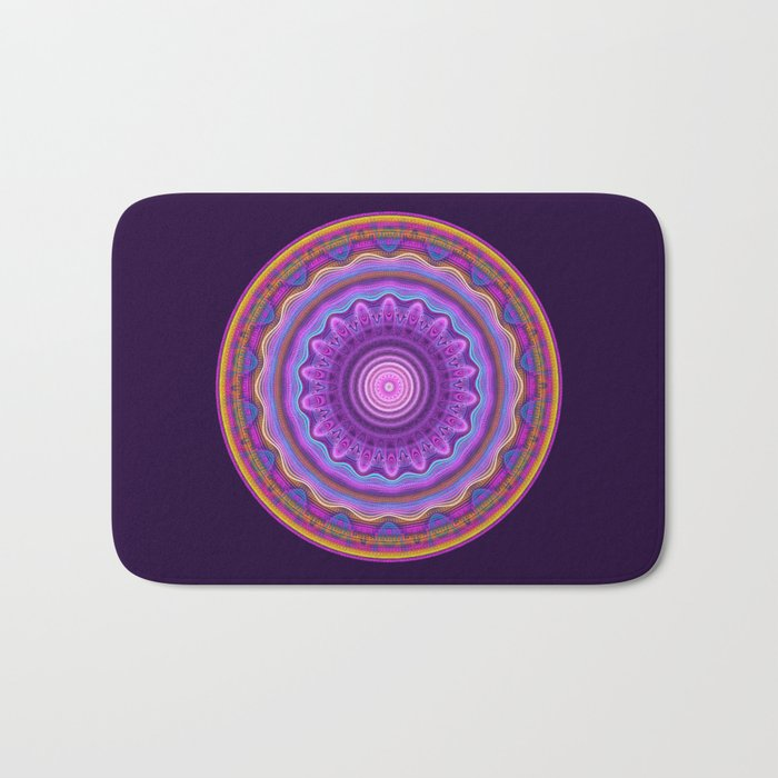 Colourful mandala with waves and tribal patterns Bath Mat