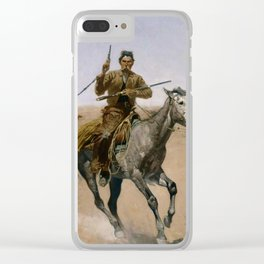 """Frederic Remington Western Art """"The Flight"""" Clear iPhone Case"""