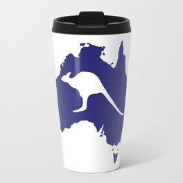 Australia Map With Kangaroo Silhouette Travel Mug