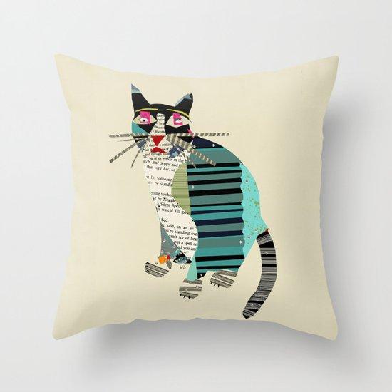 blackberry cat Throw Pillow