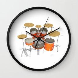 Orange Drum Kit Wall Clock