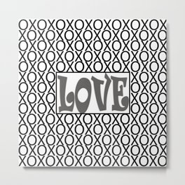 Pantone Pewter LOVE XOs (Hugs and Kisses) Typography Art Metal Print