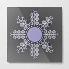 Minimalist Floral Circle, Lavender, Charcoal Black Metal Print