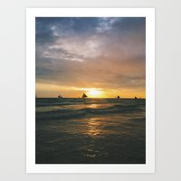 Sunsets by the Beach Art Print