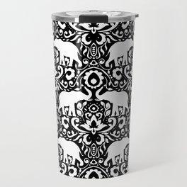 Elephant Damask Black and White Travel Mug