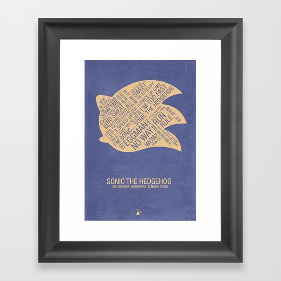 Sonic the Hedgehog Typography Framed Art Print