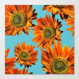 Orange Sunflower Pattern Canvas Print