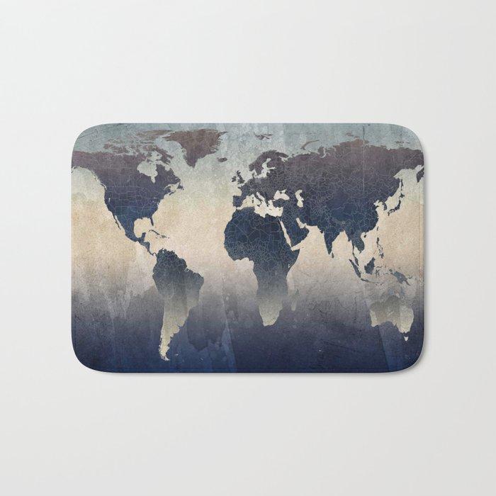 World Map Gray Bath Mat