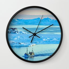 Icebergs in Disko Bay Wall Clock