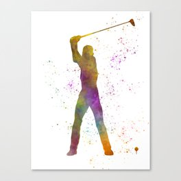 Man practicing golf in watercolor 04 Canvas Print
